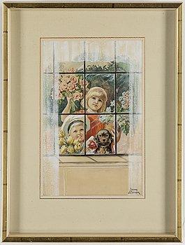 JENNY NYSTRÖM, akvarell, täckvitt, tusch och blyerts, signerad Jenny Nyström.