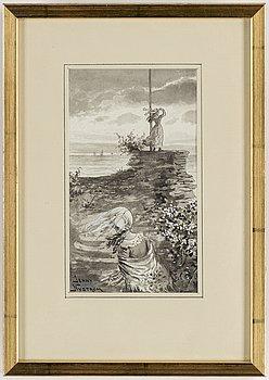 JENNY NYSTRÖM, akvarell, tusch och täckvitt, signerad Jenny Nyström.