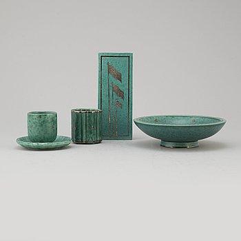 "WILHELM KÅGE, vaser ock skålfat, 5 delar, ""Argenta"", stengods, Gustavsberg."