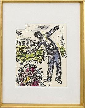 "MARC CHAGALL,färglitografi, ur Derrière le Miroir, ""Dessins et Lavis. Exposition Chagall"", Galerie Maeght."
