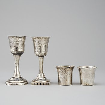 4 silver cups, Sweden early 19th century.