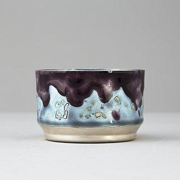 A silver and enamel bowl by Inger Hanmann, for A Michelsen Copenhagen, Denmark, 1969.