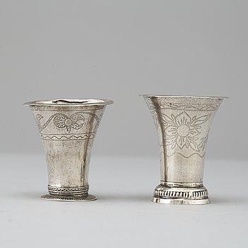 Two swedish silver beakers, A Schotte Uddevalla 1793, A Bäck Alingsås 1829.