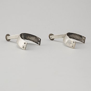 A PAIR OF SILVER SPURS, Gustaf Theodor Folcker, Stockholm 1852.