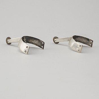 SPORRAR, ett par, silver, Gustaf Theodor Folcker, Stockholm 1852.