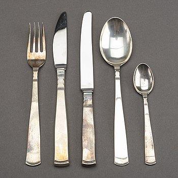 A Swedish 20th century 42 pcs silver cutlery mark of GAB/J Ängman Stockholm, 20th century, total weight ca 870 gr.