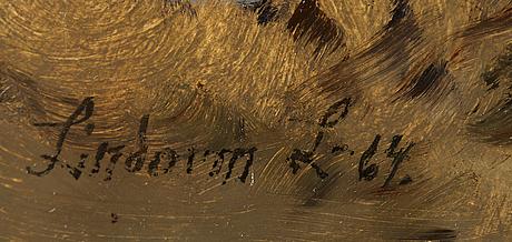 Lindorm liljefors, oil on masonite, signed lindorm l and dated -64.