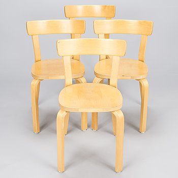 ALVAR AALTO, A Set of four '69' Chairs by Artek, late 20th Century.