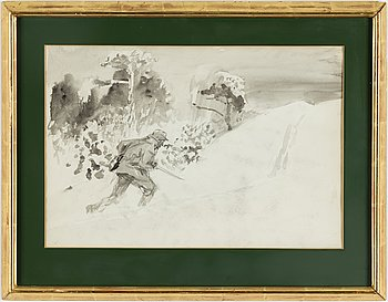 BRUNO LILJEFORS, ink wash, verso authenticated by Gustaf Jaensson.