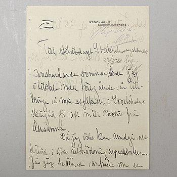 ANDERS ZORN, brev till aktiebolaget Stockholmssystemet daterat Stockholm den 11 maj 1920.