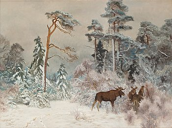 523. Bruno Liljefors, Winter landscape with moose.