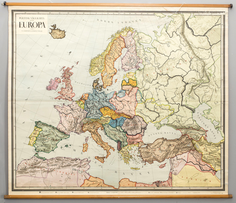 Skolplansch Politisk Karta Over Europa P A Nordstedt Soner