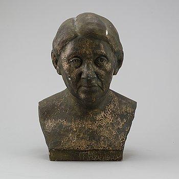 OKÄND KONSTNÄR, skulptur, gips, troligen föreställande Selma Lagerlöf.