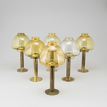a pair of brass candle holders, modell L 102/32, by hans Agne Jakobsson, Markaryd.