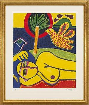 BEVERLOO CORNEILLE, färglitografi, signerad, numrerad 101/250 och daterad -95.