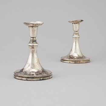 A pair of silver candle sticks, Uppsala  dated 1960.