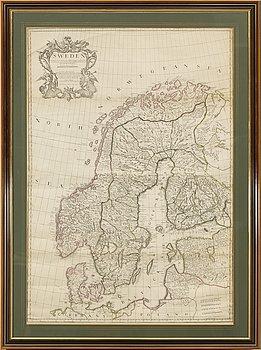 "KARTA, kolorerat kopparstick, ""Sweden"", John Senex, London, troligen 1700-tal."