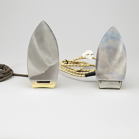Two 1940's irons from the grammophone co. ltd.h.m.v. and hmw.