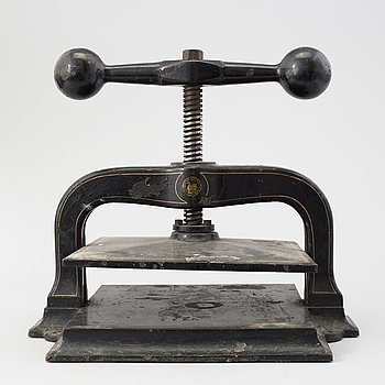 A BOOK PRESS, iron, late 19th / early 20th century.