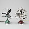 Two 'libelle' table fans, from schoeller &co, mid 20th century.