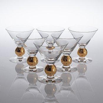"""GUNNAR CYRÉN, martiniglas, 6 st, """"Nobel"""", Orrefors, sent 1900-tal."""