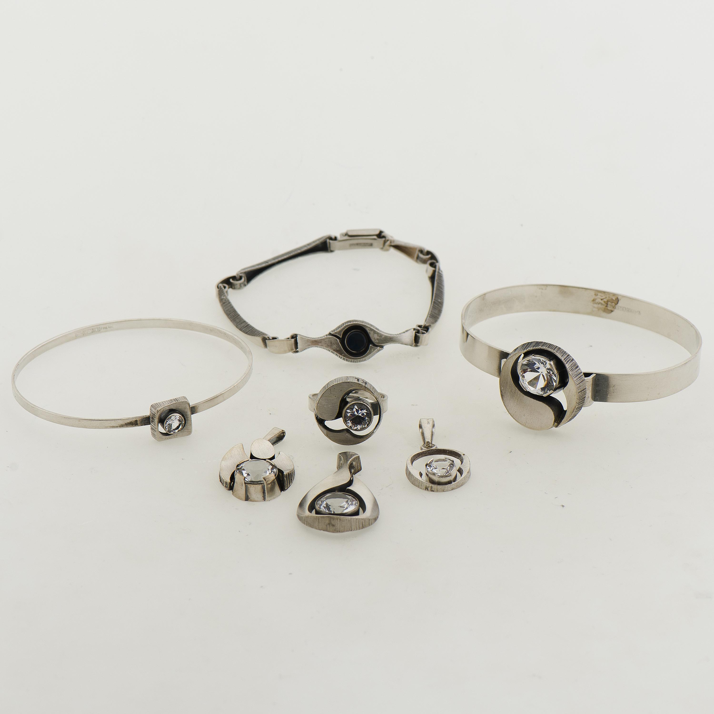 halpa korkealaatuinen täysin tyylikäs A KARL LAINE JEWELLERY SET, silver, synthetic spinel ...
