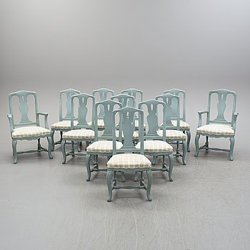 Ten chairs and a pair of armchairs, second half of the 20th century.