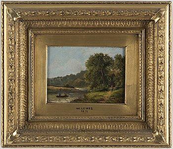 W LEWIS, 1800-tal, olja på pannå, signerad och daterad 1881.