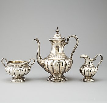 A three-piece silver coffee service, marked WP, Turkku, Finland, dated 1894 and 1897.