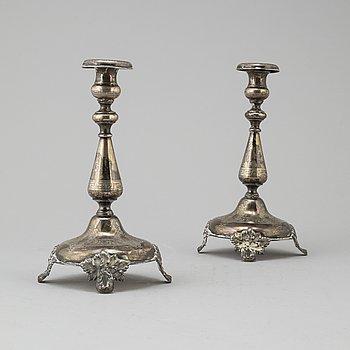 LJUSSTAKAR, ett par, silver, GAB Stockholm 1879.