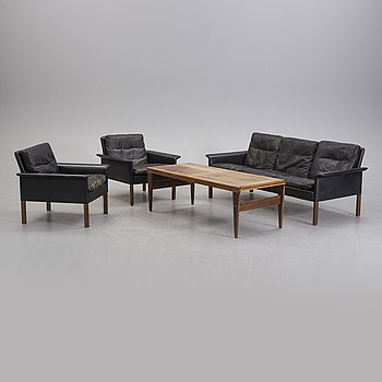 A Hans Olsen mid 20th century Danish Modern sofa, pair of lounge chairs and coffee table for CS-Möbler, Denmark.