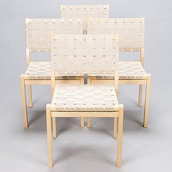 ALVAR AALTO, A set of four '611' chairs for Artek, 2010.