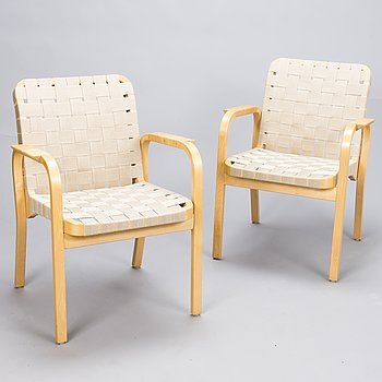 ALVAR AALTO, A pair of 'model 45' armchairs for Artek.