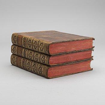 """ANTOINE FRANCOIS PREVOST, """"HISTORIE GENERALE DES VOYAGES... ASIEN"""" 3 vol, utgivare Pierre d' Hondt 1753,1755."""