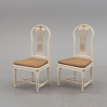 A pair of 18th century Gustavian chairs.