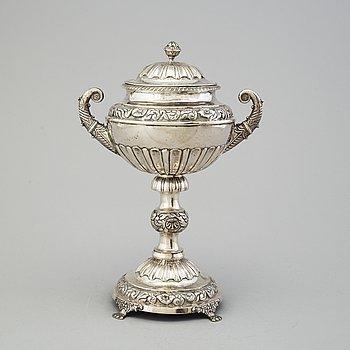 MAGNUS FRYBERG, sockerskål, silver, Jönköping, 1839.
