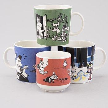 MUMINMUGGAR, 4 st, porslin, Moomin Characters, Arabia, 1990-2000-tal.
