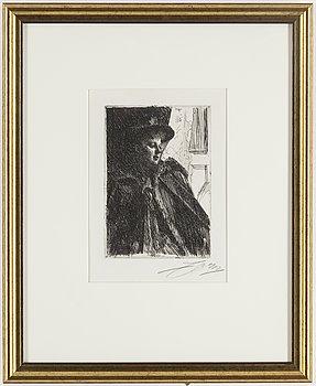 ANDERS ZORN, etsning, 1892, signerad med blyerts.
