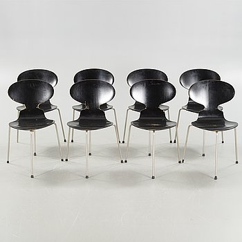 """ARNE JACOBSEN, stolar, 8 st, """"Myran"""", Fritz Hansen, Danmark, modell formgiven 1952."""