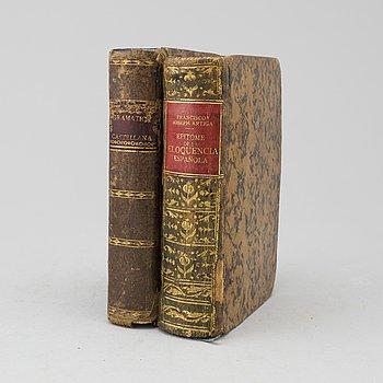 BÖCKER, 2 volymer. Om spanskt språk och vältalighet, 1750, 1796.