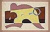 """Esaias thorén, """"gul och lila bladform""""."""