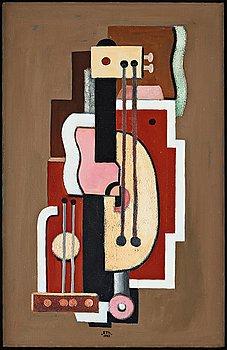 "503. ESAIAS THORÉN, ""Komposition med musikinstrument"" / ""Konstruktion""."