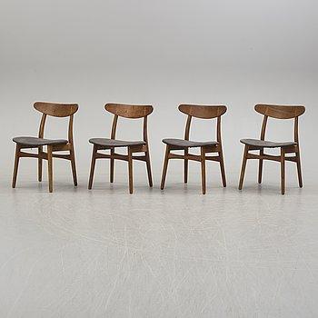 """HANS J WEGNER, stolar, 4 stycken, """"CH-23"""", """"Spisestolen"""", Carl Hansen & Son, Danmark, 1900-talets andra hälft."""