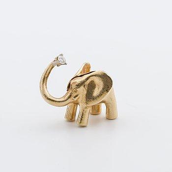 OLE LYNGGAARD LÅS i form av en elefan, 14K guld,  1 briljant 0,10 ct W VS.