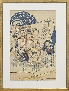 YOSHIIKU, färgträsnitt, Japan 1850-tal.