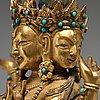 A sino-tibetan gilt copper alloy figure of ushnisha vinaya, late 18th century/circa 1800.