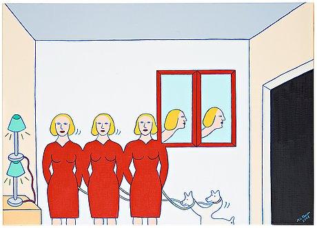 """Marie-louise ekman, """"dam med tre kroppar, två speglar och en utgång""""."""