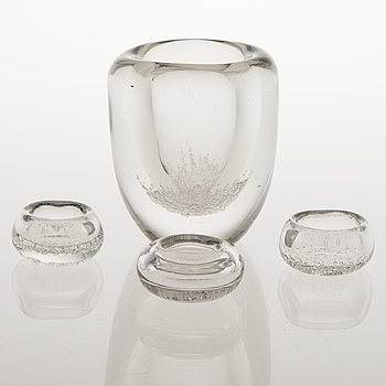 KAJ FRANCK, A vase and three small bowls in glass, all signed K. Franck Iittala.
