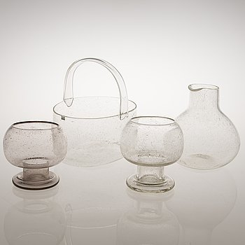 "KAJ FRANCK  Glassföremål, 4 st, ""Sargasso""-serien, signeeratut Nuutajärvi Notsjö."