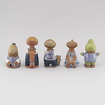LISA LARSON, figuriner, 5 st, stengods, Gustavsberg.